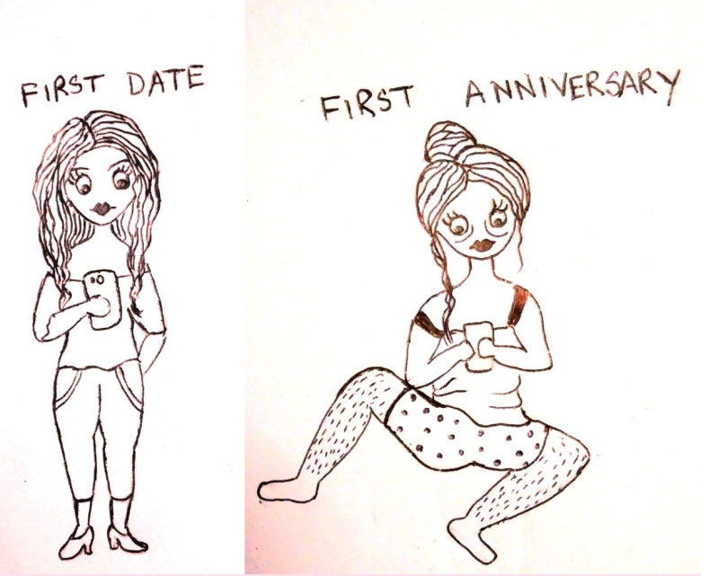 comics - sketch - relations - first date vs first anniversary